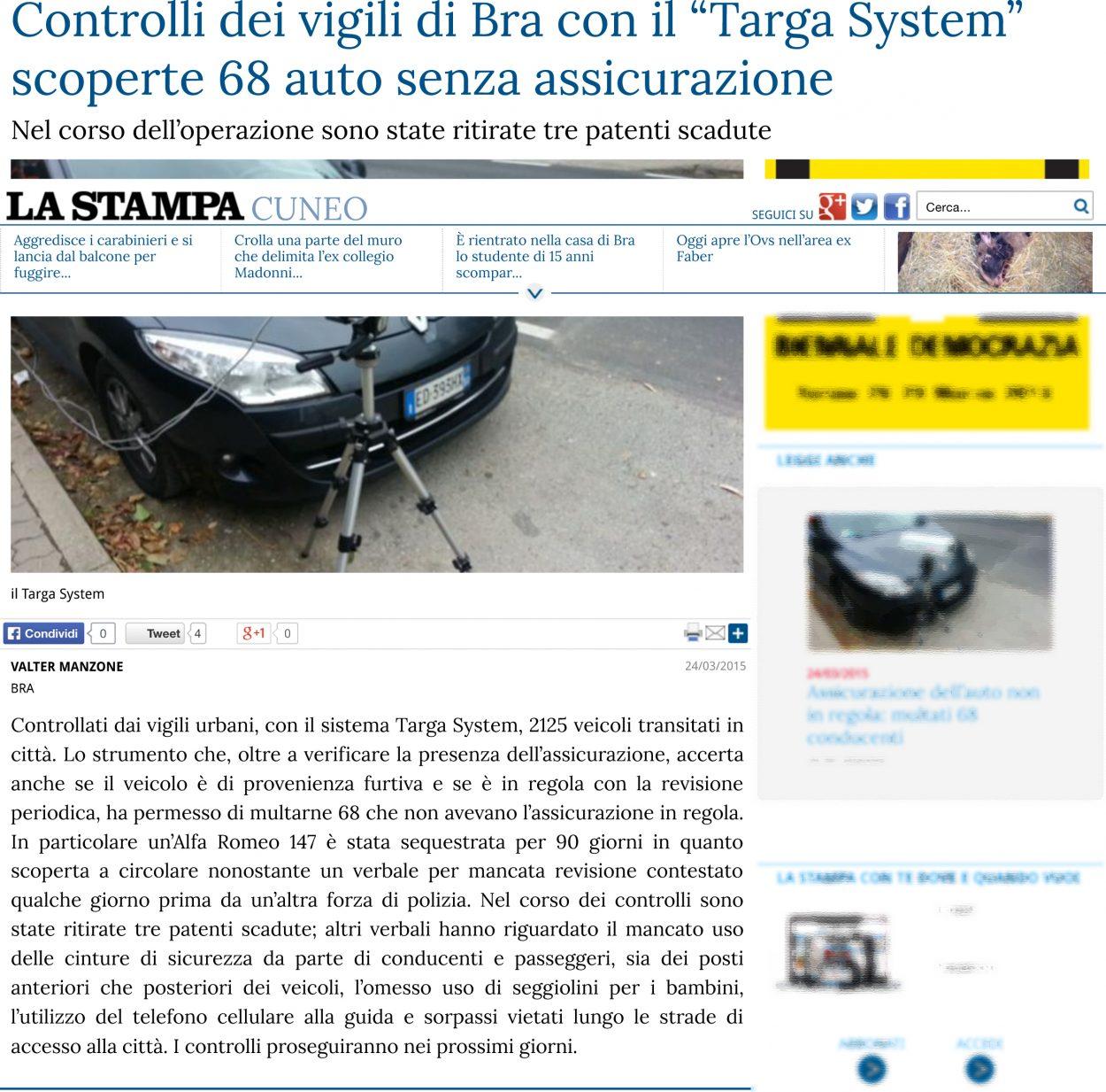 Tagliando assicurativo addio Targa System